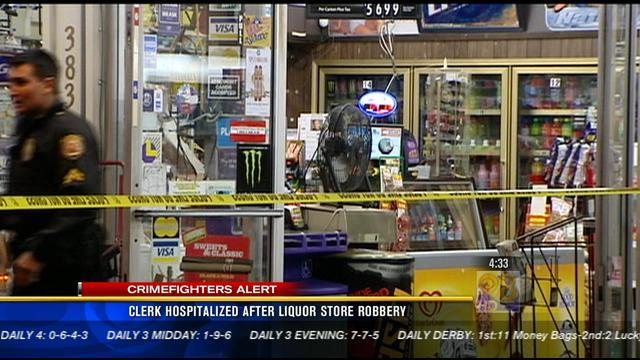 Clerk hospitalized after liquor store robbery
