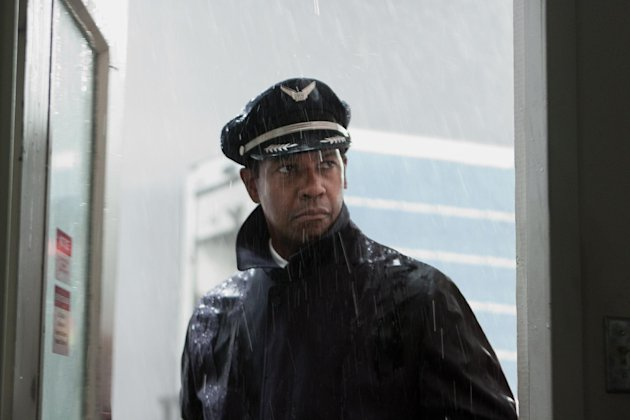 "FILE - This publicity film image released by Paramount Pictures shows Denzel Washington portraying Whip Whitaker in a scene from ""Flight."" Washington plays an airline pilot who, despite being hung-over, drunk and coked-up, manages to bring down a rapidly deteriorating plane in a daring emergency landing on what should have been a routine flight between Orlando, Fla., and Atlanta. Alcohol plays a prominent role in ""Flight,"" but Anheuser-Busch says it wasn't consulted beforehand and is asking the filmmakers and Paramount Pictures to remove the Budweiser logo and any other trademarks from the film.(AP Photo/Paramount Pictures, Robert Zuckerman)"
