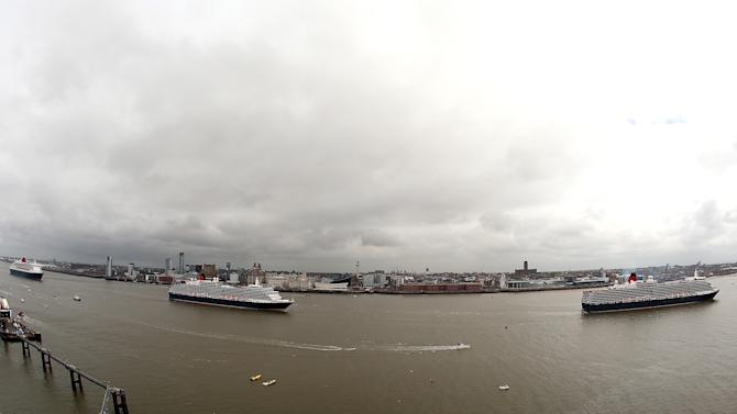 Cunard's Three Queens Cruise Ships Dock Together For The First Time