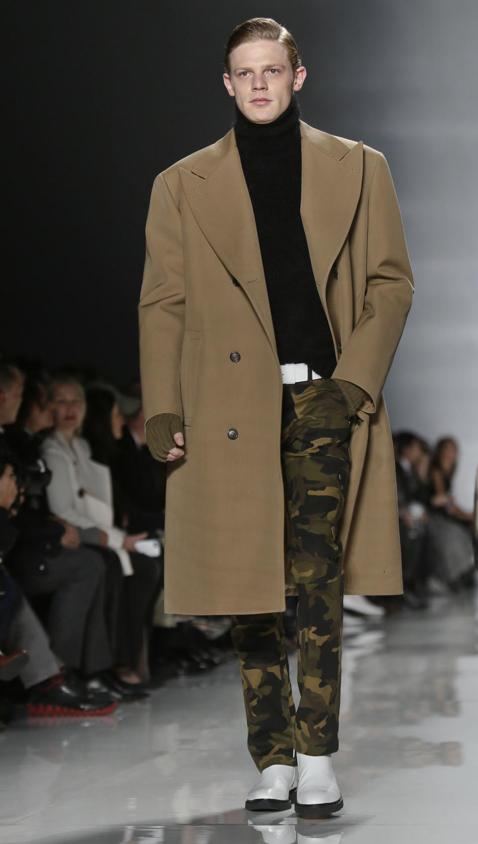 Fashion from the Fall 2013 collection of Michael Kors is modeled on Wednesday, Feb. 13, 2013 in New York.  (AP Photo/Bebeto Matthews)
