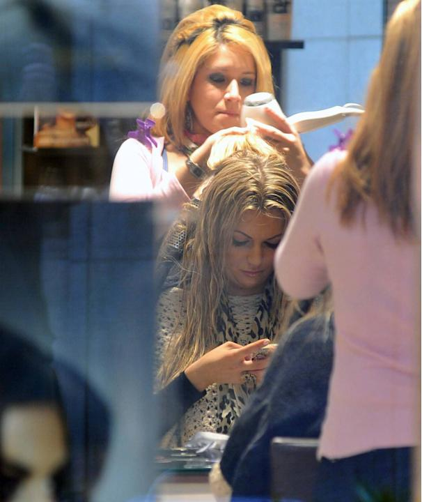 Miss World 2003 Rosanna Davison Singer Michelle Heaton seen accompanied by her husband Hugh Hanley at 'Salon Caramelle' getting her hair done by stylist Ceira Lambert. Also spotted at the salon Miss W
