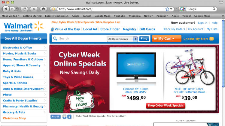In this screen shot of the Walmart.com website, Cyber Week Online Specials: Now till Friday, is displayed. (AP Photo/Walmart.com)  NO SALES