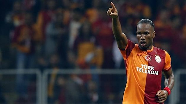Didier Drogba of Galatasaray celebrates his goal against FC Copenhagen during their Champions League soccer match in Istanbul October 23, 2013 (Reuters)