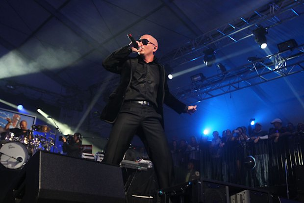 Pitbull performs at the Bud Light Hotel concert.