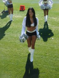 Erica Arana at Oakland Raiders home game against Denver Broncos.