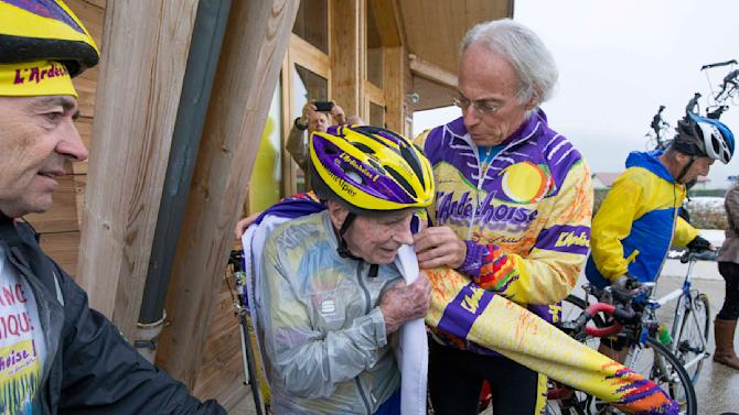 French cyclist Robert Marchand, 103 years-old, prepares ride the Robert Marchand pass near Saint-Felicien