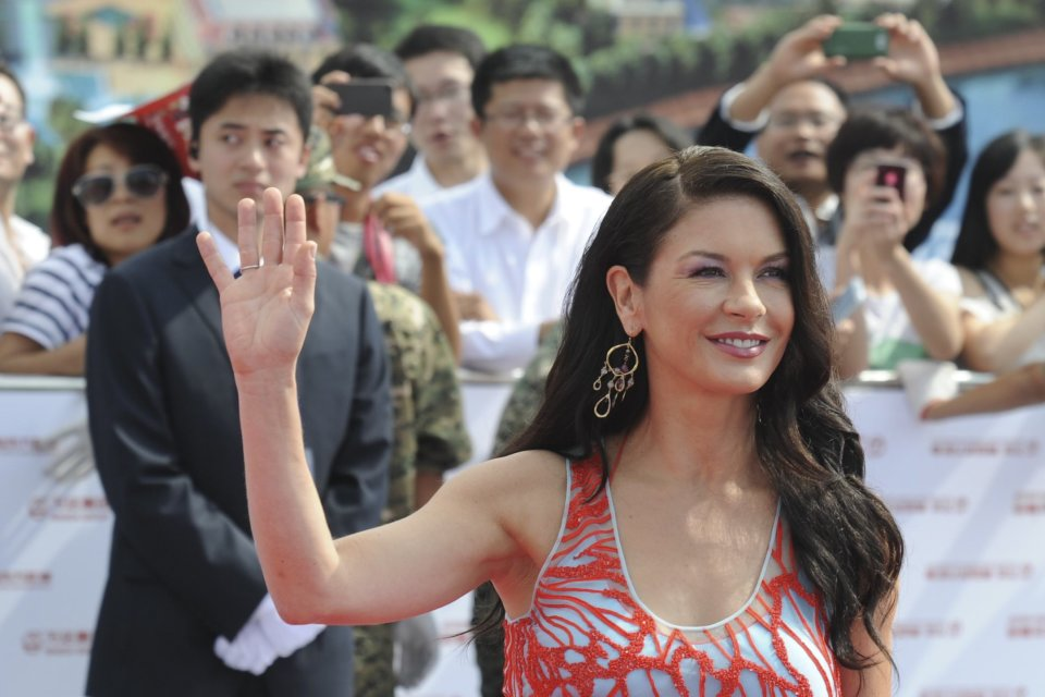Catherine Zeta Jones attends the launching ceremony of Qingdao Oriental Movie Metropolis in Qingdao in east China's Shandong province, Sunday, Sept. 22, 2013. (AP Photo)