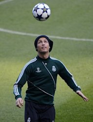 Real Madrid forward Cristiano Ronaldo is pictured during a training session in Manchester on March 4, 2013. Tuesday's game will mark the first time that Ronaldo has returned to Old Trafford since he left United to join Madrid in a world-record £80 million transfer in 2009