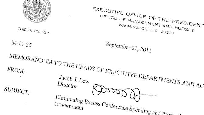 "This Sept. 21, 2011, memo posted on the White House website shows then-Office of Management and Budget director Jack Lew's signature. Lew's nomination for treasury secretary means a new signature could soon be coming to the dollar bill. Not that you'll be able to read it. Lew's signature starts off promising enough, with a soft ""J."" But what follows next are seven loopy scribbles, rendering his signature completely illegible. The treasury secretary's signature is emblazoned in the lower right corner of U.S. dollar bills of all denominations. It remains to be seen whether President Barack Obama will make Lew change up his signature or if the Senate will make it a condition of his confirmation. (AP Photo/The White House)"