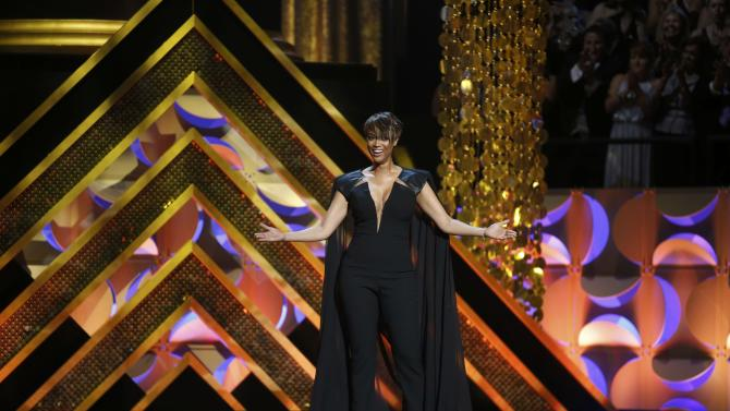 Show host Tyra Banks speaks on stage at the 42nd Annual Daytime Emmy Awards in Burbank