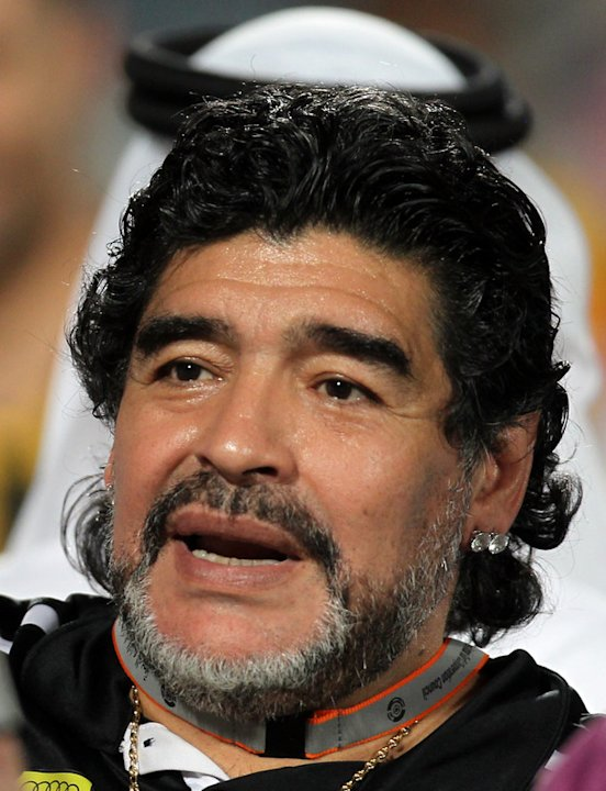 Argentine Football Legend Diego Maradona, Coach Of UAE's Al-Wasl, Celebrates AFP/Getty Images