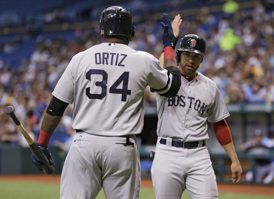 Boston Red Sox's Jacoby Ellsbury, right, high fives on-deck batter David Ortiz after scoring on a first-inning, two-run single by Dustin Pedroia during a baseball game Monday, June 10, 2013, in St. Petersburg, Fla. (AP Photo/Chris O'Meara)