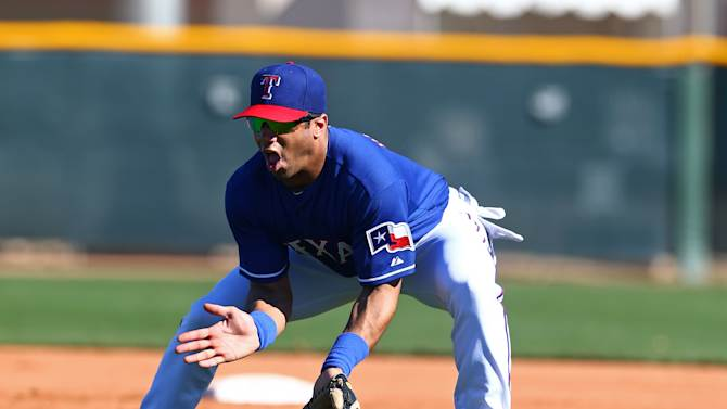 MLB: Spring Training-Russell Wilson attends Texas Rangers Practice