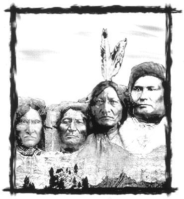 The faces of Chief Joseph, Sitting Bull, Dull Knife, and Geronimo (L to R) imprinted over the US Presidents on Mount Rushmore. in First Look's Skins