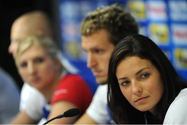 (L-R) Britain's swimmers Rebecca Adlington, Adam Brown and Keri-Anne Payne give a press conference at the indoor stadium of the Oriental Sports Center during the FINA World Championships in Shangh