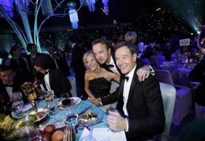 "Gunn, Paul and Cranston celebrate the success of ""Breaking Bad"" at the Governors Ball for the 65th Primetime Emmy Awards in Los Angeles"