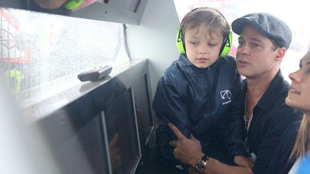 Brad Pitt and His Lookalike Son Knox Show Up at MotoGP British Grand Prix Race in England