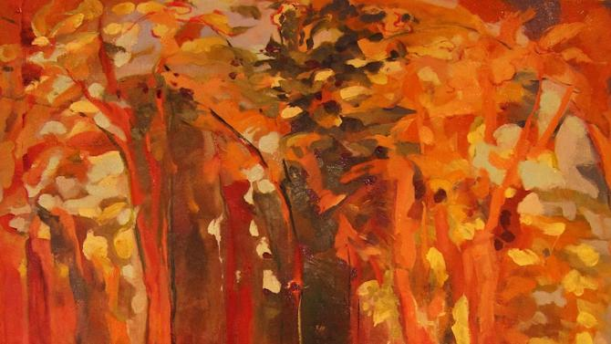 "This publicity photo of Betina Fink's oil painting, ""Aspen,"" (5 feet by 4 feet, 2013), demonstrates how reds, oranges and yellows, which are analogous colors (adjacent on the color wheel) get a ""pop"" from the addition of tints of blue-gray (blue is a complement, or opposite, of orange) and deep greens. (AP Photo/Betina Fink)"
