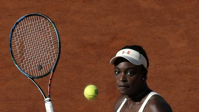 Sloane Stephens of the U.S. plays a shot to Tsvetana Pironkova of Bulgaria during their women's singles match at the French Open tennis tournament at the Roland Garros stadium in Paris