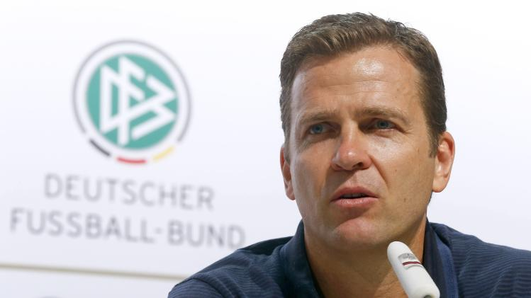Germany's national soccer team manager Bierhoff addresses a news conference in the village of Santo Andre