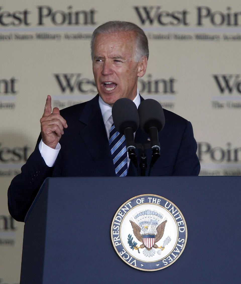 Vice President Joe Biden delivers the commencement address during a graduation and commissioning ceremony at the U.S. Military Academy in West Point, N.Y., on Saturday, May 26, 2012. (AP Photo/Mike Groll)