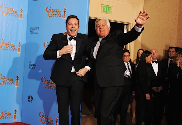 BEVERLY HILLS, CA - JANUARY 13:  Presenters Jimmy Fallon (L) and Jay Leno pose in the press room during the 70th Annual Golden Globe Awards held at The Beverly Hilton Hotel on January 13, 2013 in Beverly Hills, California.  (Photo by Kevin Winter/Getty Images)