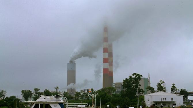 Smoke billows from the coal-fired Morgantown Generating Station in Newburg, Maryland on May 29, 2014
