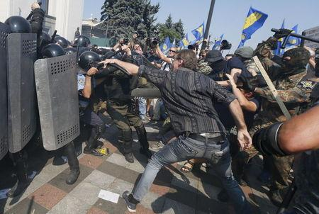Street violence in Kiev dims prospects for peace effort in Ukraine's east