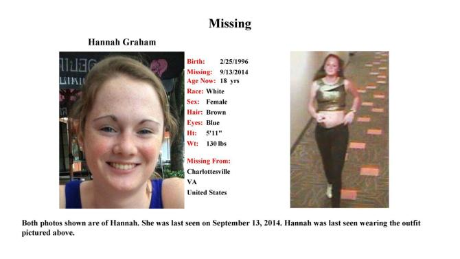 Charlottesville Police Dept. missing persons poster of Hannah Graham a University of Virginia student missing since the weekend