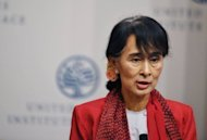 Myanmar member of parliament and democracy icon Aung San Suu Kyi speaks at the United States Institute of Peace in Washington, DC. The Nobel laureate, who spent 15 years under house arrest, thanked the United States for its years of support