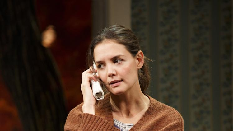 "This undated publicity photo provided by Boneau/Bryan-Brown shows Katie Holmes as Lorna in a scene from ""Dead Accounts,"" by Theresa Rebeck, at Broadway's Music Box theatre in New York. (AP Photo/Boneau/Bryan-Brown, Joan Marcus)"