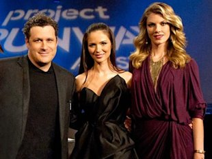 Isaac Mizrahi poses with fellow judge Georgina Chapman, and host Angela Lindvall