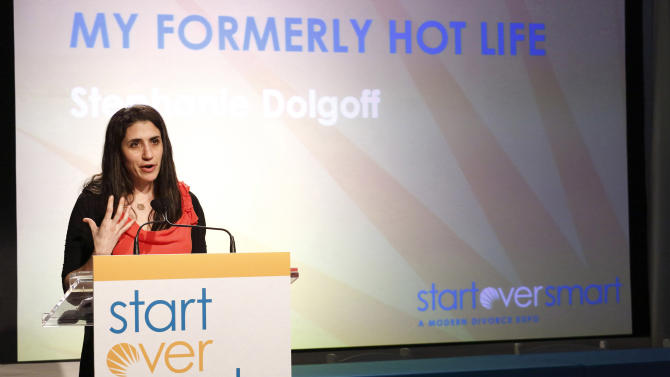 "In this march 31, 2012 photo, author Stephanie Dolgoff presents a lecture entitled ""My Formerly Hot Life"" at the Start Over Smart Divorce Expo in New York. A smattering of vendors set up booths offering everything from a divorce planning binder to advice on long-term insurance, with seminars on such topics as ""Sensuality Secrets"" and ""My Formerly Hot Life.""  (AP Photo/Charles Sykes)"