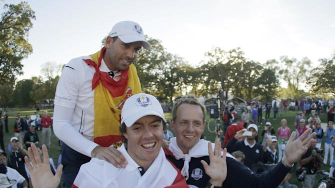 Sept. 30 Europe's Sergio Garcia, Rory McIlroy and Luke Donald celebrate after winning the Ryder Cup PGA golf tournament Sunday, Sept. 30, 2012, at the Medinah Country Club in Medinah, Ill. (AP Photo/Charlie Riedel)