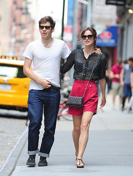 Walking with fiancé James Righton in NYC this July