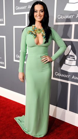 Katy Perry Shows Major Cleavage in Mint Green Gucci Dress at 2013 Grammy Awards