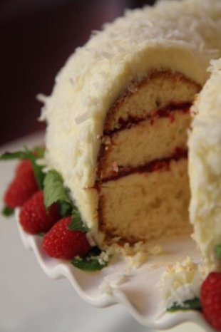 Raspberry-Coconut Peppermint Chiffon Cake
