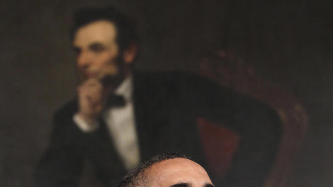 President Barack Obama speaks in the State Dining Room of the White House in Washington, Monday, Aug. 8, 2011. (AP Photo/Carolyn Kaster)