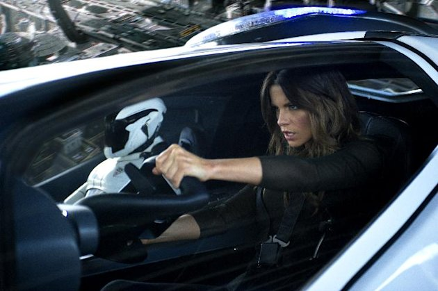 This film image released by Columbia Pictures shows Kate Beckinsale in a scene from the action thriller &quot;Total Recall.&quot; (AP Photo/Columbia Pictures - Sony, Michael Gibson)