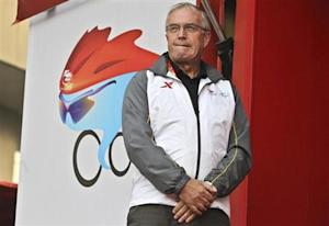 Pat Mcquaid, president of the Union Cycliste Internationale, waits for the award ceremony for stage four of the Tour of Beijing race, outside Changping Gymnasium