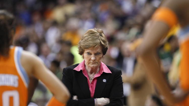 "FILE - In this March 26, 2012 file photo, Tennessee coach Pat Summitt waits for her players during a timeout in the second half of an NCAA women's college basketball tournament regional final against Baylor in Des Moines, Iowa. has an agreement with Crown Archetype, an imprint of Random House Inc., for a memoir that is currently untitled. According to Crown, which announced the deal Tuesday, the book will cover her ""full life journey,"" including her diagnosis last year of early-onset dementia, Alzheimer's type. Publication is expected in spring 2013. (AP Photo/Nati Harnik, file)"