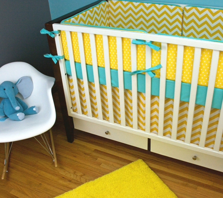 Modern Chevron Crib Bedding Set in Turquoise and Yellow