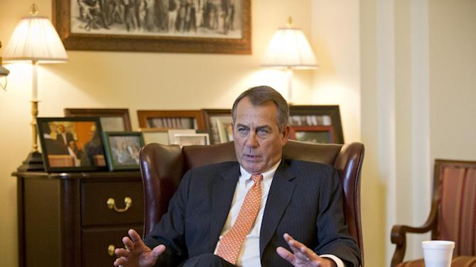 Speaker of the House John Boehner, R-Ohio, speaks during an interview with The Associated Press at his Capitol office, in Washington, Wednesday, Feb. 13, 2013. (AP Photo/J. Scott Applewhite)