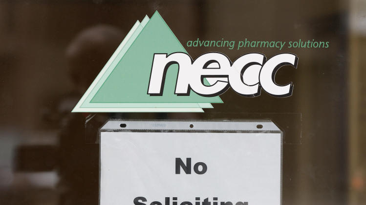 "A sign requesting ""No Soliciting"" hangs on the door of New England Compounding in Framingham, Mass., Thursday, Oct. 4, 2012. An outbreak of a rare and deadly form of fungal meningitis that has killed 4 people and sickened another 26 in five states is believed to have been traced back to a steroid manufactured by the New England Compounding Center. (AP Photo/Stephan Savoia)"