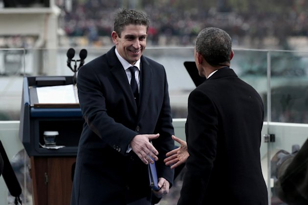 President Barack Obama greets poet Richard Blanco on the West Front of the Capitol in Washington, Monday, Jan. 21, 2013, after Blanco&#39;s reading at the president&#39;s ceremonial swearing-in ceremony during the 57th Presidential Inauguration. (AP Photo/Win McNamee, Pool)