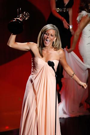 Actress Laura Wright accepts the Outstanding Lead Actress award onstage during the Daytime Emmy Awards on Sunday June 19, 2011 in Las Vegas. (AP Photo/Jeff Bottari)