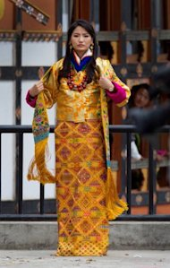 Queen of Bhutan Jetsun Pema on her wedding day. (Getty Images)