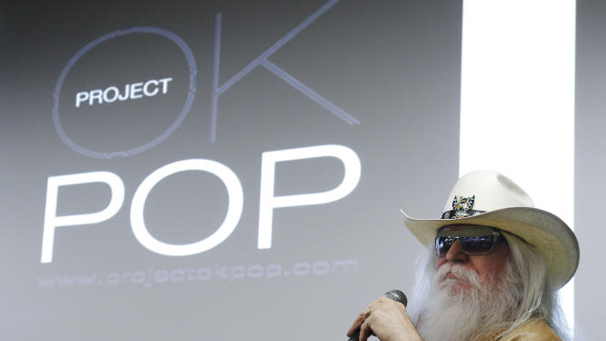 Leon Russell answers a question during a news conference in Tulsa, Okla., Tuesday, Jan. 29, 2013. The Oklahoma Historical Society has acquired a large collection of works by the legendary musician and native Oklahoman that are intended for display in a planned pop culture museum in Tulsa. (AP Photo/Sue Ogrocki)