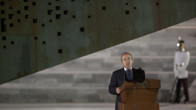 "FILE - In this Tuesday, Nov. 20, 2013, file photo, Mexico's President Felipe Calderon delivers a speech during a ceremony in Mexico City. Mexico's president is making one last attempt to get the ""United States"" out of Mexico - at least as far as the country's name is concerned. The name ""United Mexican States,"" or ""Estados Unidos Mexicanos,"" was adopted in 1824 after independence from Spain in imitation of Mexico's democratic northern neighbor, but it is rarely used except on official documents, money and other government material.  (AP Photo/Alexandre Meneghini, File)"