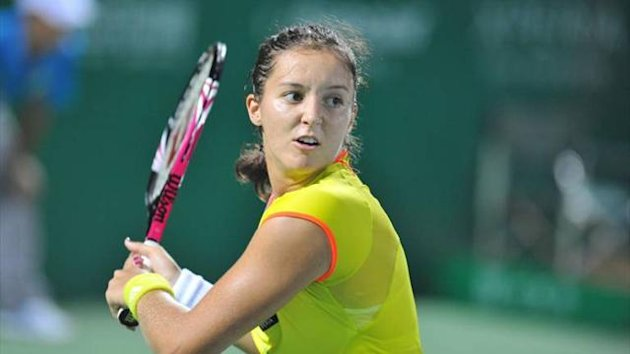 Britain's Laura Robson during her 7-5 5-7 6-2 win over China's Peng Shuai to make the semi-finals of the WTA Guangzhou tournament.